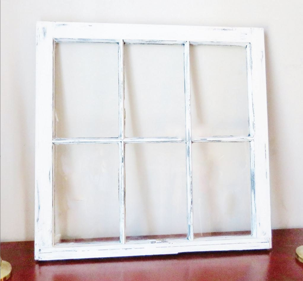 antique white frame wood window picture frame 6 pane vintage each side distressed different family framelarge frame 32x28
