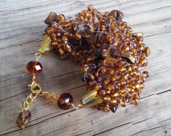 Brown tiger eye airy beaded bracelet – brown multi strand seed bead bracelet with tiger eye gemstone – air multi strand beaded bracelet