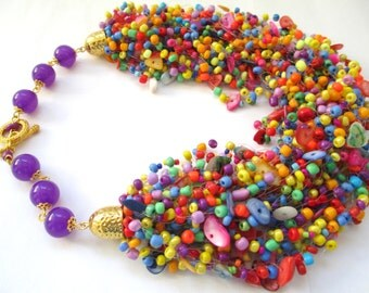 Multicolor airy beaded necklace – colorful seed bead necklace with mother of pearl – air multi strand multicoloured beaded necklace