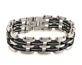 Stainless Steel with Black Rubber Mens Chain Link Bracelet
