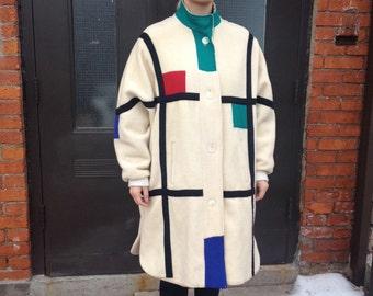 80's Piet Mondrian Long Coat