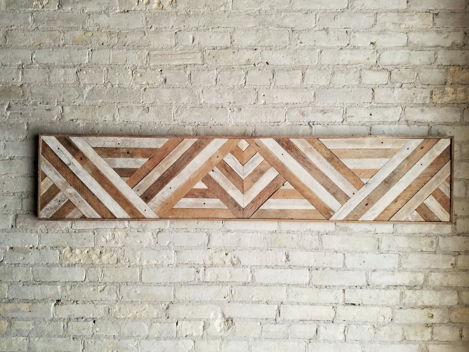 Reclaimed Wood Wall Art, Queen Headboard, Wood Wall Decor, Geometric  Triangle Pattern, 60 X 12