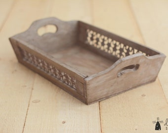 Weathered Wooden Tray; Newborn Photo Prop; Posing Prop; Wooden Prop; Wooden Tray; Baby prop