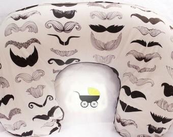 Mustache Boppy Slipcover - Nursing Pillow Cover