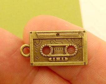 Cassette Tape Charm. 5 pcs Antique Bronze Tone Cassette Tape Charm Pendant 22x11mm. Music Charm. Rocker Charm. 80s Charm. - (5 - 0059B)