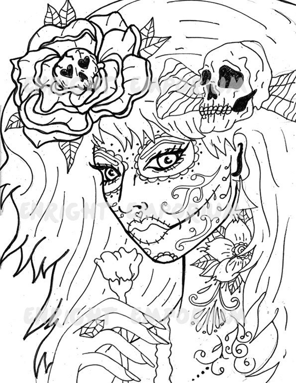 day of the dead girl coloring page digital download