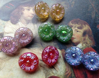 10 beautiful small old collector / glass buttons - 5 colors - 1.3 cm Bluckfang!