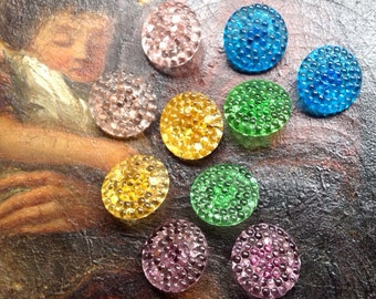 Glass vintage buttons - aurora wow - 10 beautiful old collector / glass buttons - glittering -! 5 colors