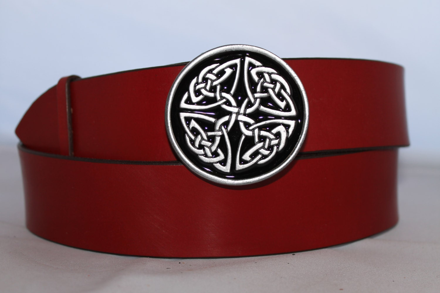 handmade leather belt with celtic buckle 1 75 leather
