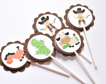 15 Cowboy Birthday Cake Toppers, Cowboy Cupcake, Western Party, Cowboy Decoration, Cowboy Sticker, Cowboy 1st Birthday Party Supplies