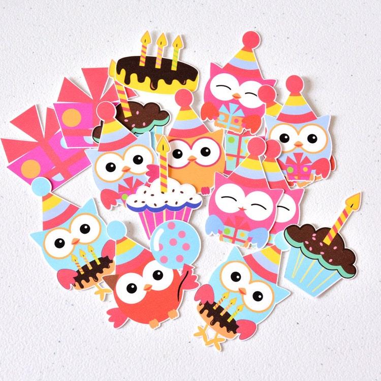 12 Owl Birthday Party Supplies Owl Cake by ArtPaperWonders ...