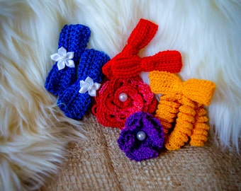 Handmade Crocheted hair accessories for girls.