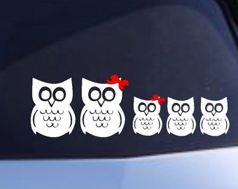 Car decal, family decal, Owls, Owl family decal