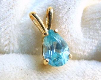 Natural Blue Zircon Pear Pendant in 14K Gold