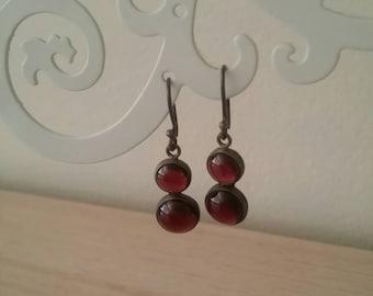 Vintage Sterling Silver Garnet Plum Coloured Stones Drop Dangle  Earrings