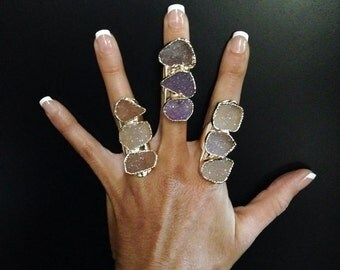 Druzy Rings- Wide Band Rings, Gemstone Rings, Crystal Ring, Gold Dipped Ring, Statement Ring, Gift for Her, Girl Gift Idea
