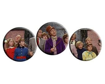 Willy Wonka & the Chocolate Factory (1971) handmade film / movie badge with film still [Gene Wilder, Roald Dahl]