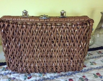 Vintage Wicker Basket Handbag