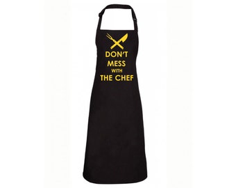 Cooking Apron with print barbecue apron Don't mess with the chef fathers day mens apron black with yellow print