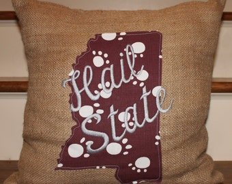 Hail State Pillow, Mississippi Pillow, MSU Pillow, Home Decor Pillow, Dorm Room Decor, MS State Pillow, Burlap Pillow, Appliqued Pillow