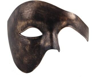 Luxury Mask Phantom Of The Opera Half Face Masquerade Mask Vintage Design Antique Black Gold