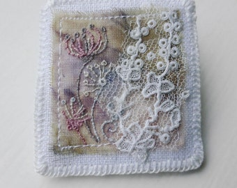 Stitched Meadow Brooch, embroidered felt and silk brooch with antique lace, light whimsical, eco textile jewelry