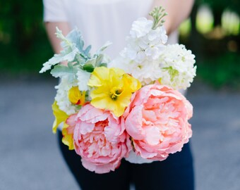 Coral, Yellow, and White Bridal Bouquet - Peonies, Petunias, Hydrangea, and Ranunculus