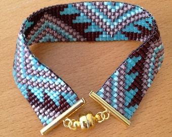 "Bracelet cuff - ""Blue Aztec"""