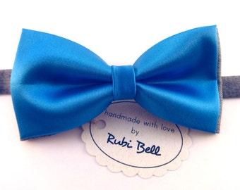 Bow Tie - blue silk bow tie - man bow tie - men bow tie - silk bow tie - wedding bow tie