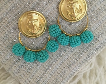Anchor and turquoise beads hoop earrings with stud in back