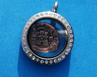 Spanish Castle & Lion Colonial Caribbean Pirate Era 2 Maravedis Cob Coin Pendant