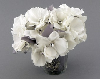 White Artificial Hydrangea Flower Bouquet With Crystal Rhinestones Shabby Chic White Hydrangea Flower Arrangement