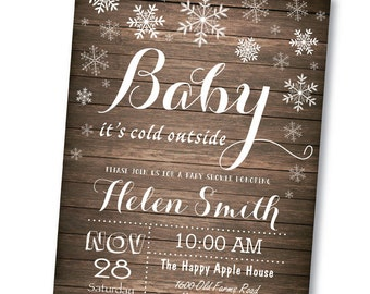 Baby its Cold Outside Baby Shower Invitation. Rustic. Pink Blue Purple Aqua Wood. Boy or Girl Winter Baby Shower Invite. Printable Digital.