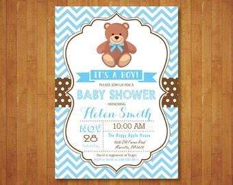 Teddy Bear Baby Shower Invitation. Boy or Girl Baby Shower Invitation. It's a Girl. Pink Blue Purple Aqua Polka Dots. Printable Digital.