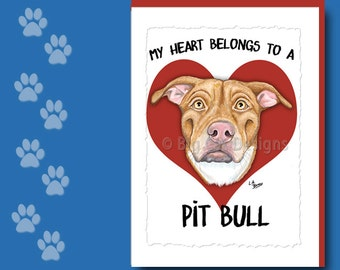 PIT BULL CARD,  Pit Bull Greeting Card, Pit Bull Notecard,  Pit Bull Birthday Card, Pit Bull Note Card