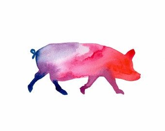 ORIGINAL watercolor painting of a colorful Pig