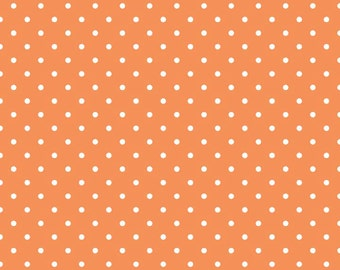 White Swiss Dots on Orange - Riley Blake Designs - Pin Polka Dots - Quilting Cotton Fabric - by the yard fat quarter half