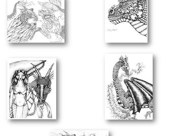 Adult Fantasy ALL THE DRAGONS Coloring Pages Digital Download Digi Print Stamp