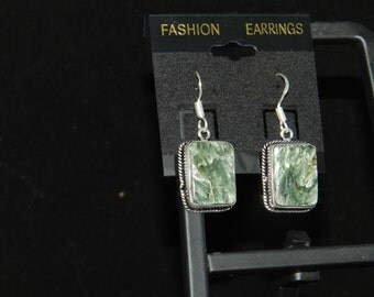 Seraphinite Rectangle Charm Dangle Earrings