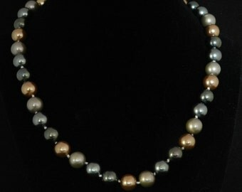 Grey and Bronze Pearl Necklace  18in