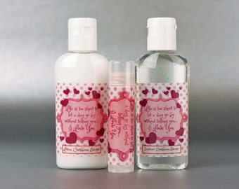 Personalized. Valentine's day. 1oz lotion/sanitizer/lip balm set