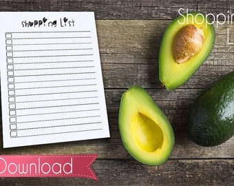 """Shopping List Card 2.5"""" x 3.5"""" PDF - Instant Download"""