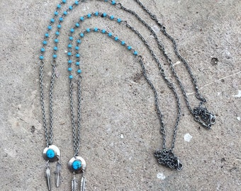 Vintage Turquoise and Sterling Silver Double Feather Pendant & Oxidized Sterling Silver Rosary Chain Necklace