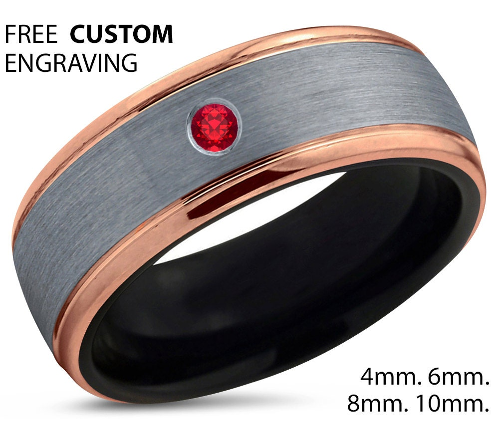 black tungsten ring 18k rose gold gold tungsten wedding bands Black Tungsten Ring 18k Rose Gold Brushed Silver Band Black Wedding Bands Red Ruby Mens Wedding Band Men Wedding Band Polished Carbide