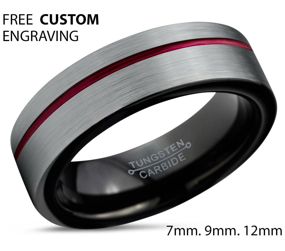 tungsten ring mens brushed silver black red wedding band