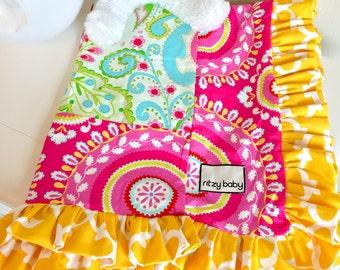 Kumari Garden Teja Pink, Jeevan Pink, Yellow Fulton, and Mint Baby or Toddler Blanket