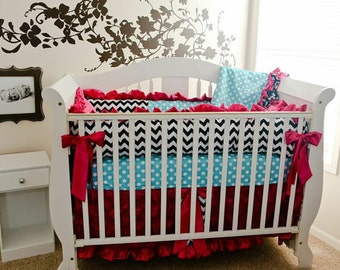 Black and White Chevron and Aqua Dots, Hot Pink 3D Roses Baby Bedding, Aqua Dots Bedding, Baby Bedding, 3pc or 4pc Bedding Set, Crib Bedding