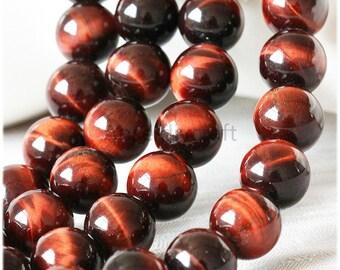 B42 Nature Red Tiger Eye Beads Supplies, Full Strand 4 6 8 10 12 14 16mm Round Tiger Eye Gemstone Beads for DIY Jewelry Making
