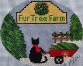 Noel, the little black cat, Picks a Christmas Tree  Hand painted NeedlepointOrnament