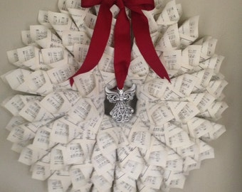 Hymnal book page wreath with angel ornament